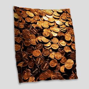 PENNIES Burlap Throw Pillow