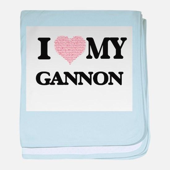 I Love my Gannon (Heart Made from Lov baby blanket