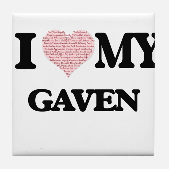 I Love my Gaven (Heart Made from Love Tile Coaster