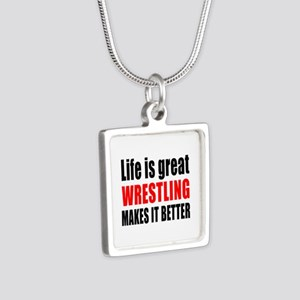 Wrestling makes it better Silver Square Necklace