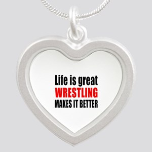 Wrestling makes it better Silver Heart Necklace