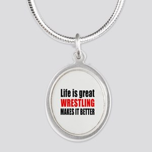 Wrestling makes it better Silver Oval Necklace