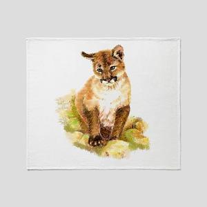 Watercolor Cougar, Puma, Mountain Li Throw Blanket