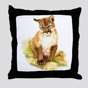 Watercolor Cougar, Puma, Mountain Lio Throw Pillow