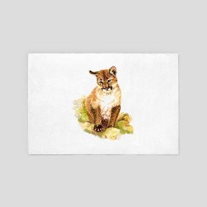 Watercolor Cougar, Puma, Mountain Lion 4' x 6' Rug