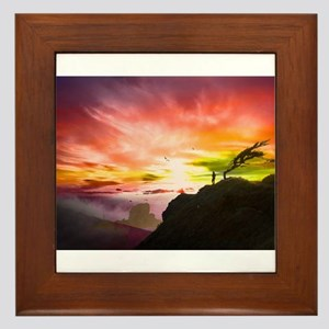 Rainbow Sunset Framed Tile