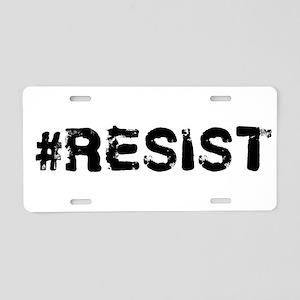 #RESIST Stamp Black Aluminum License Plate