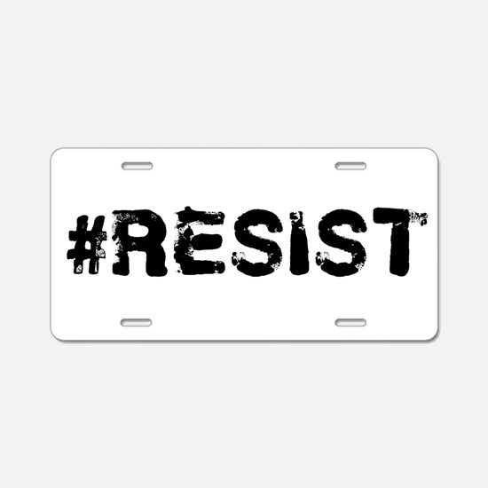 #RESIST Stamp Black Aluminum License Plate