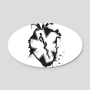 star of life heart Oval Car Magnet