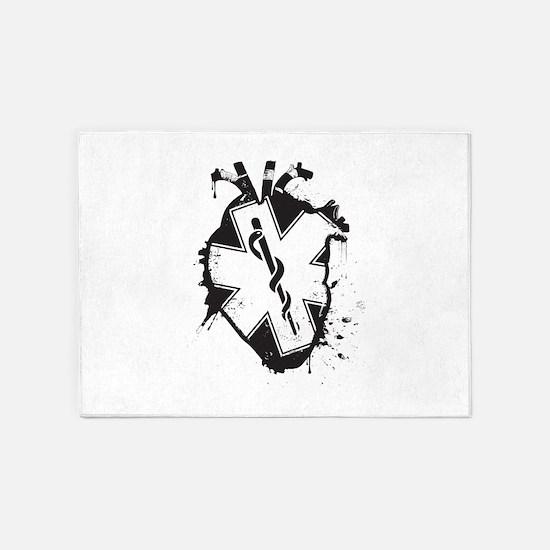 star of life heart 5'x7'Area Rug