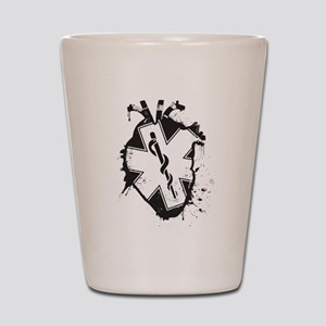 star of life heart Shot Glass