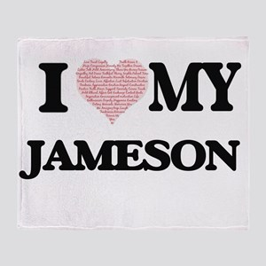 I Love my Jameson (Heart Made from L Throw Blanket