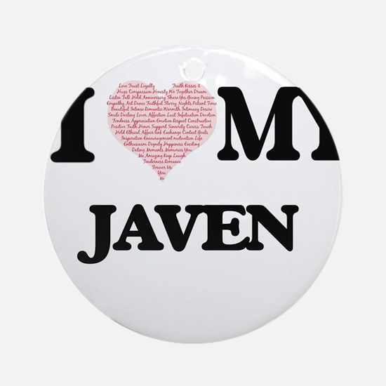 I Love my Javen (Heart Made from Lo Round Ornament
