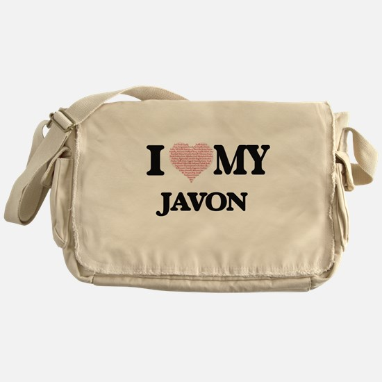 I Love my Javon (Heart Made from Lov Messenger Bag