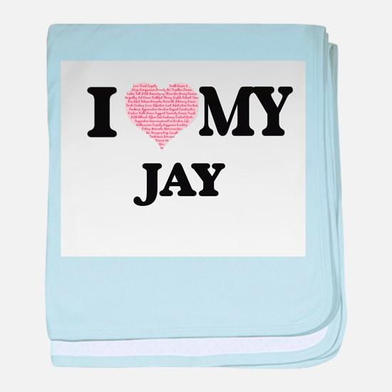 I Love my Jay (Heart Made from Love m baby blanket