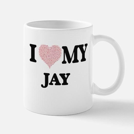 I Love my Jay (Heart Made from Love my words) Mugs