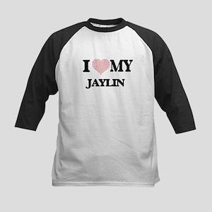 I Love my Jaylin (Heart Made from Baseball Jersey