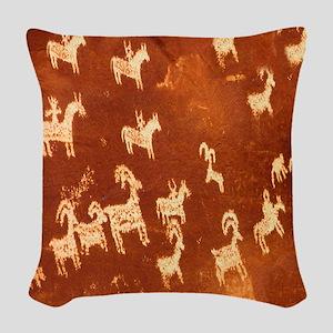 Atlatl Rock Petroglyphs Woven Throw Pillow
