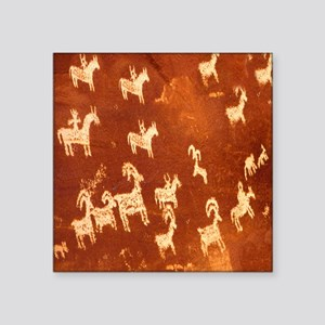 "Atlatl Rock Petroglyphs Square Sticker 3"" X 3"