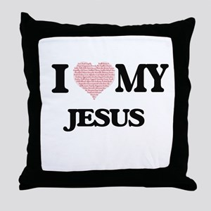 I Love my Jesus (Heart Made from Love Throw Pillow