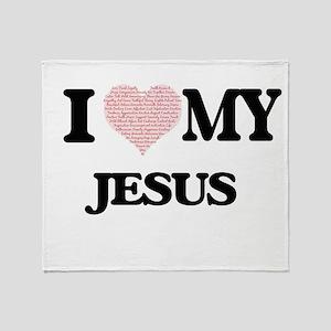 I Love my Jesus (Heart Made from Lov Throw Blanket