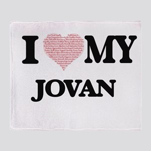 I Love my Jovan (Heart Made from Lov Throw Blanket