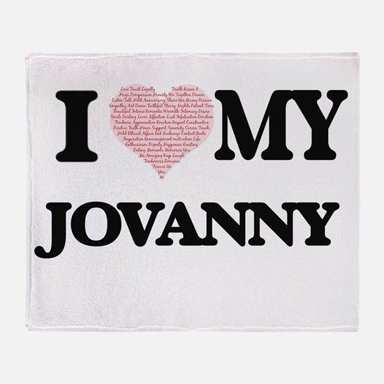 I Love my Jovanny (Heart Made from L Throw Blanket