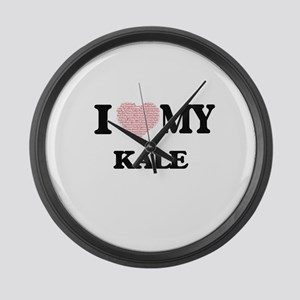 I Love my Kale (Heart Made from L Large Wall Clock