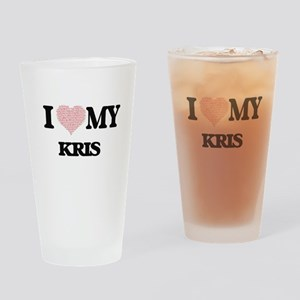 I Love my Kris (Heart Made from Lov Drinking Glass