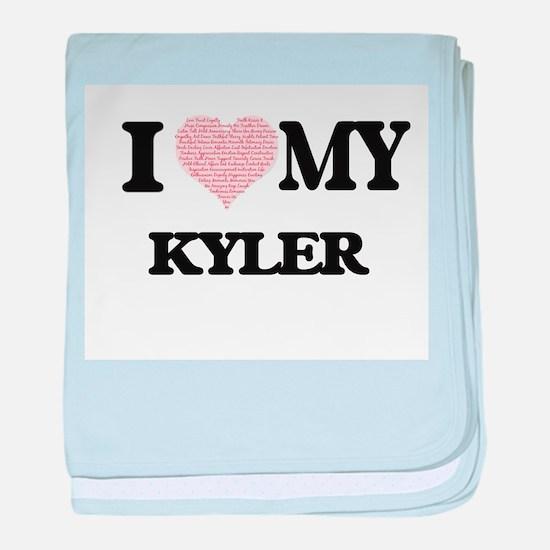 I Love my Kyler (Heart Made from Love baby blanket