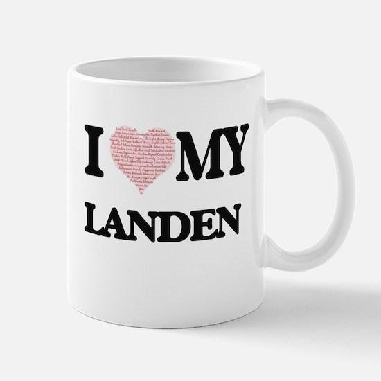 I Love my Landen (Heart Made from Love my wor Mugs