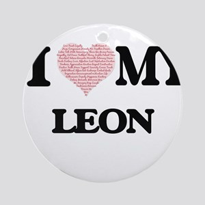 I Love my Leon (Heart Made from Lov Round Ornament