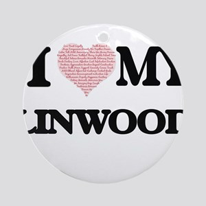 I Love my Linwood (Heart Made from Round Ornament