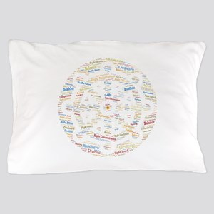 Dharma Wheel Colorful Word Art Pillow Case