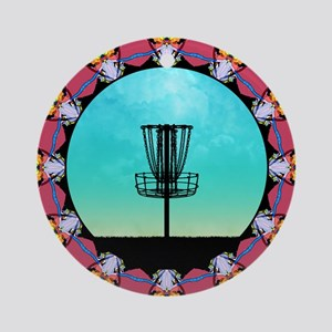 Disc Golf Abstract Basket 6 Round Ornament