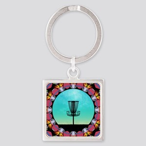 Disc Golf Abstract Basket 6 Keychains