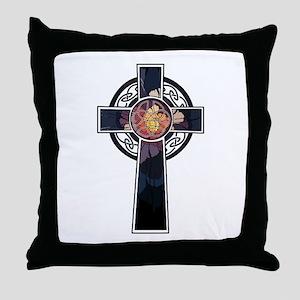 Flowered Cross-02 Throw Pillow