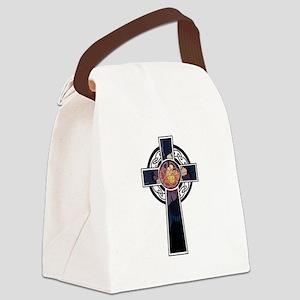Flowered Cross-02 Canvas Lunch Bag