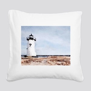 Edgartown Lighthouse Square Canvas Pillow