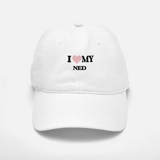 I Love my Ned (Heart Made from Love my words) Baseball Baseball Cap