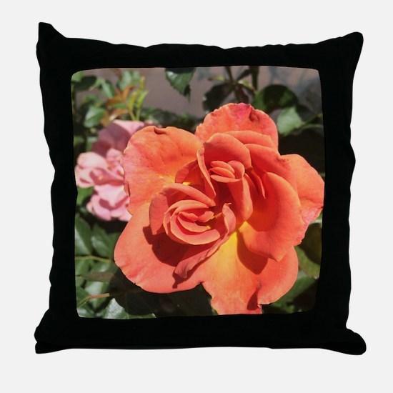 Orange Rose Bloom Throw Pillow