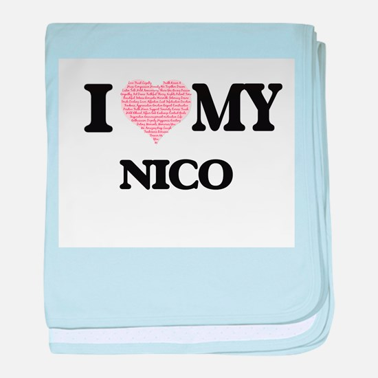 I Love my Nico (Heart Made from Love baby blanket