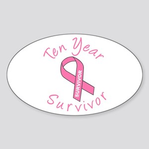 Ten Year Survivor Oval Sticker