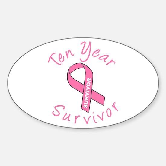 Ten Year Survivor Oval Decal