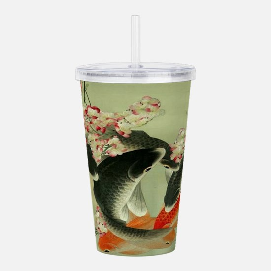 zen japanese koi fish Acrylic Double-wall Tumbler