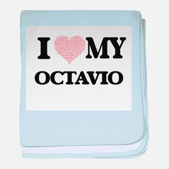 I Love my Octavio (Heart Made from Lo baby blanket