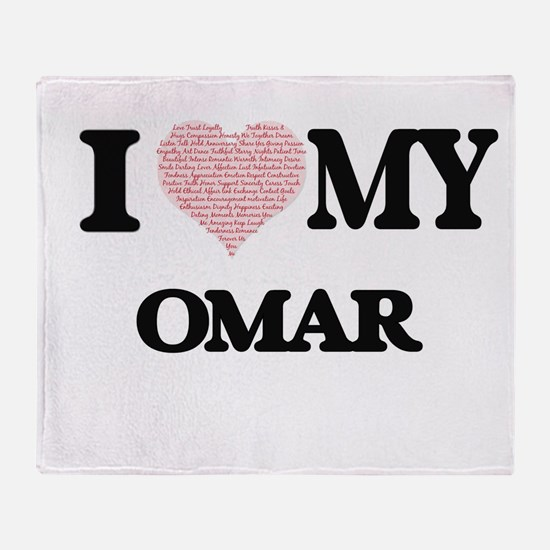 I Love my Omar (Heart Made from Love Throw Blanket