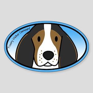 Anime Treeing Walker Coonhound Oval Sticker