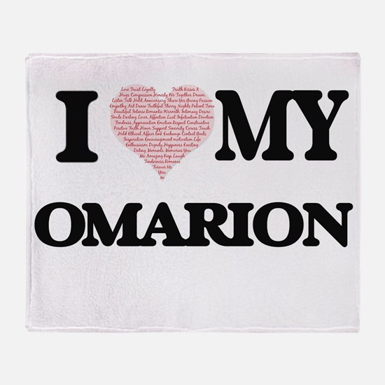 I Love my Omarion (Heart Made from L Throw Blanket
