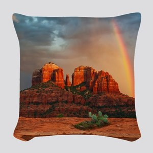 Rainbow In Grand Canyon Woven Throw Pillow